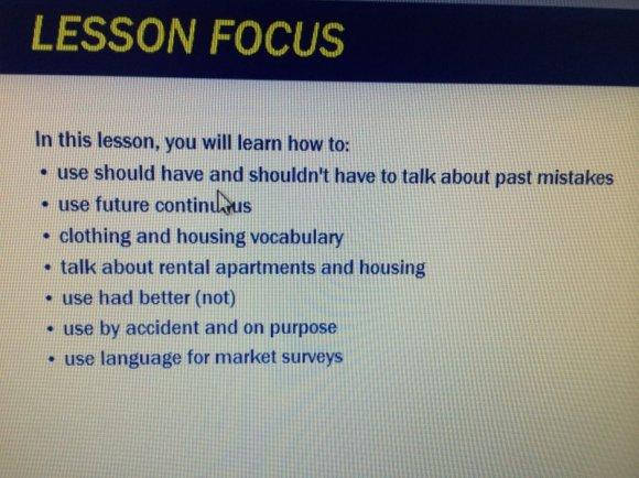Băt đầu lesson đều có liệt kê kiến thức sẽ được học trong bài.