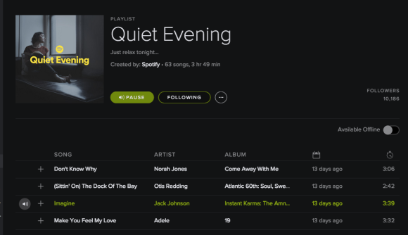 Quite Evenings Playlist