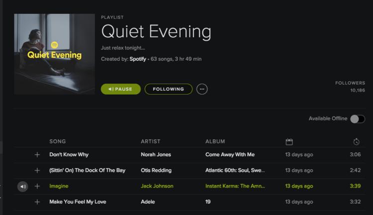 Quite Evenings Playlist